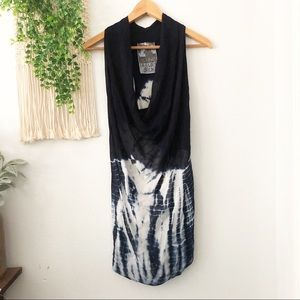 YBF Blue White Tie Dye Ariana Cowl Tunic Dress